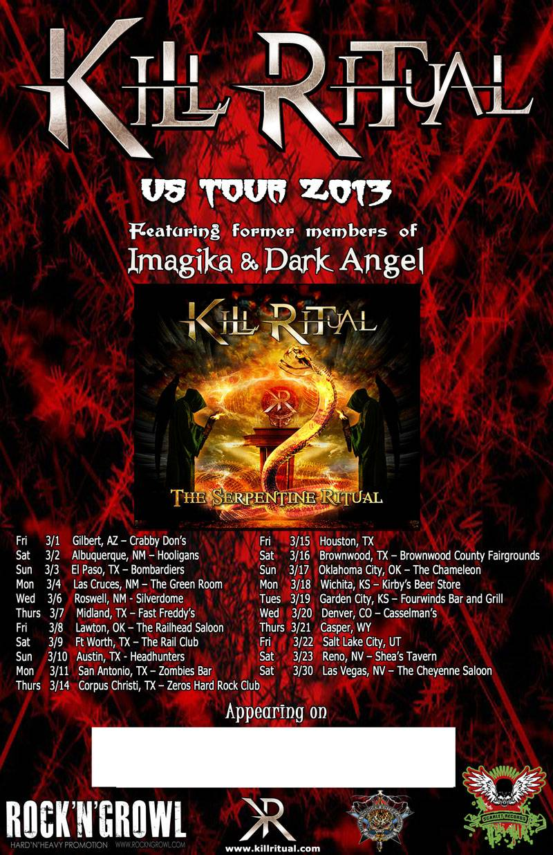 KillRitualTourPoster KILL RITUAL   Announced US Tour Dates