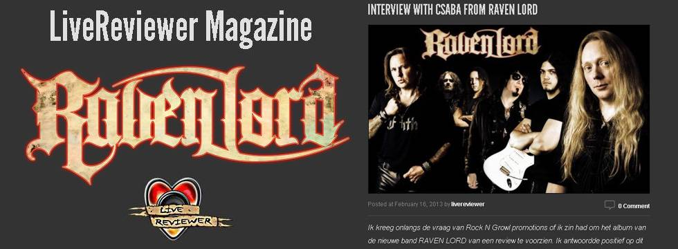 Raven Lord – Interview at Live Reviewer NL