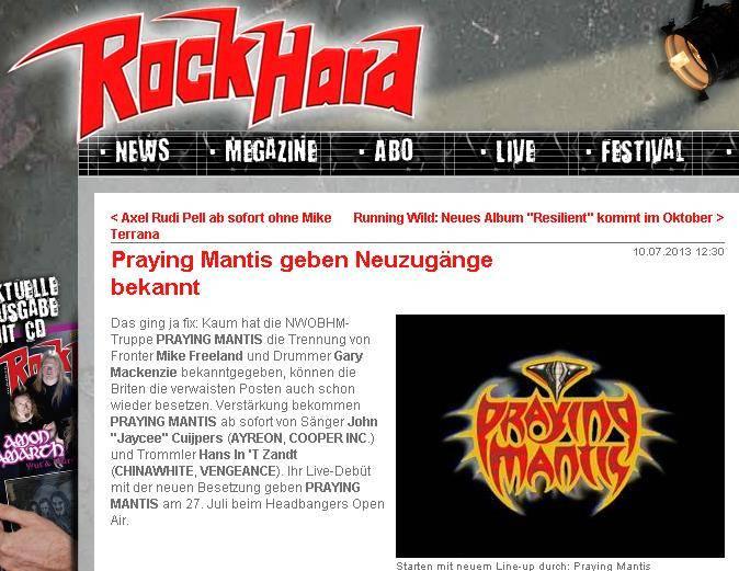 Praying Mantis Rock Hard